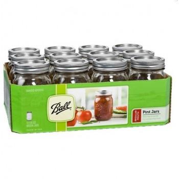 Ball Regular Mouth Pint Jars & Lids  x 12